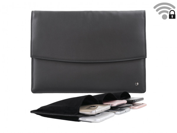 Funkstille Meeting - spy-proof meeting bag - leather - black - with inner section