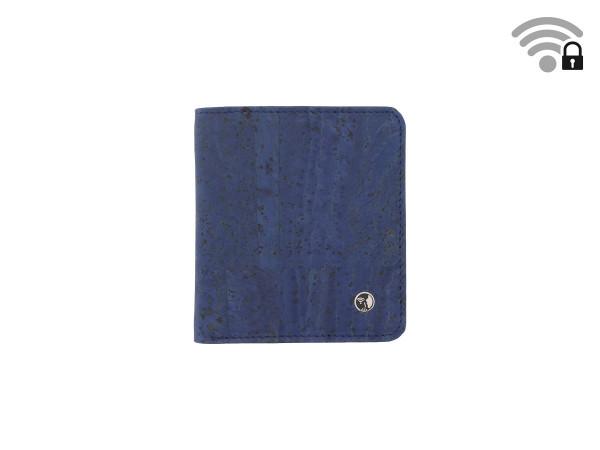 Funkstille Wallet - Portemonnaie mit RFID-Schutz - Kork - blau - vorne
