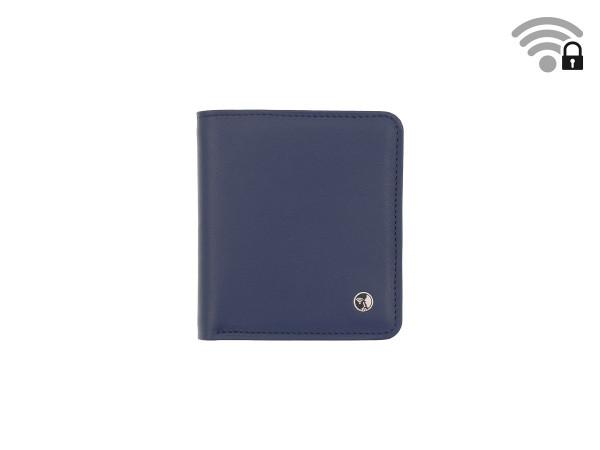 Funkstille Wallet - Portemonnaie mit RFID-Schutz - Leder - blau - vorne