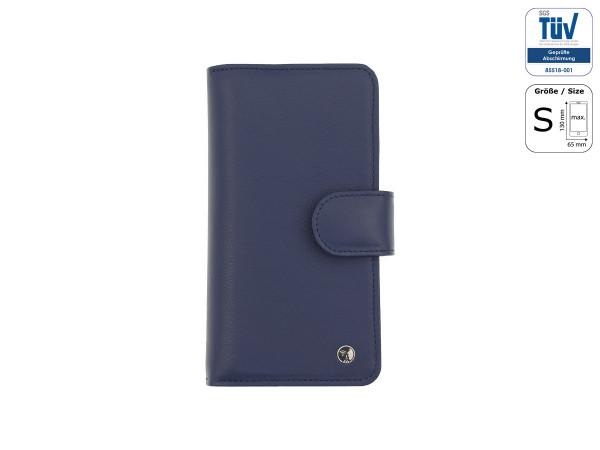 Spionagesichere Handytasche - Funkstille Bookcase - Leder - S - blau - außen