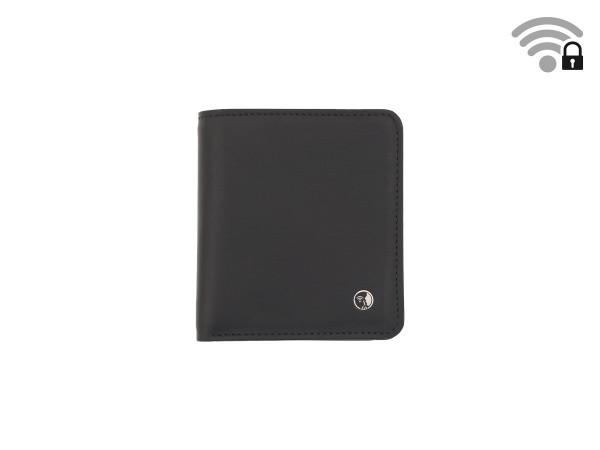 Funkstille Wallet - Portemonnaie mit RFID-Schutz - Leder - schwarz - vorne