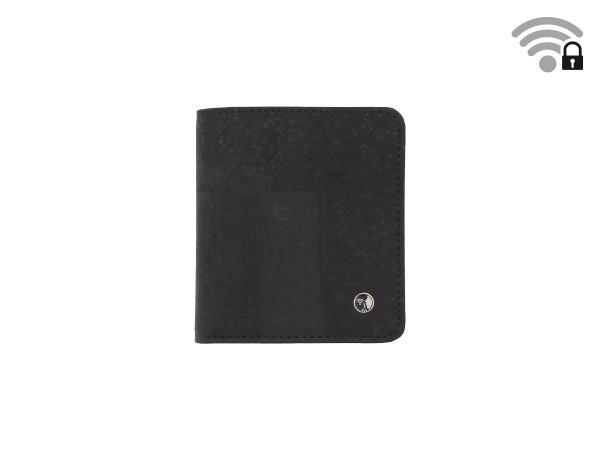 Funkstille Wallet - wallet with RFID protection - cork - black - front