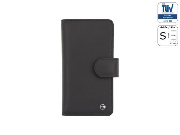 Spionagesichere Handytasche - Funkstille Bookcase - Leder - S - schwarz - außen