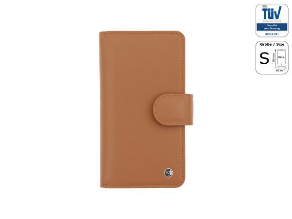 Spionagesichere Handytasche - Funkstille Bookcase - Leder - S - braun - außen