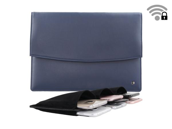 Funkstille Meeting - spionagesichere Meeting-Tasche - Leder - blau - mit Innenteil